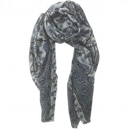 Black and Grey Printed Cashmere